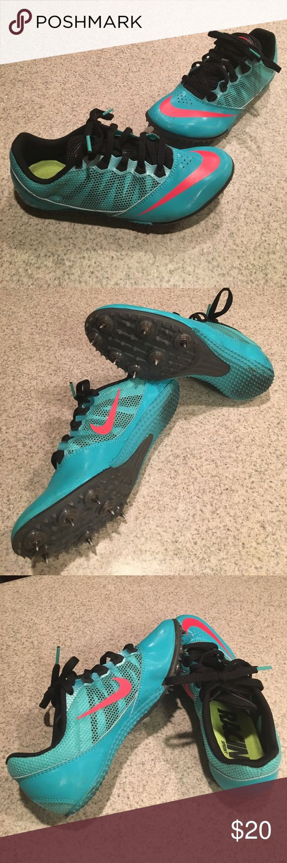Nike racing sprint track spikes size 6 Teal and pink nike racing sprint track spikes. Spikes and tread are in excellent condition. Shoes are in new condition with small amount of track staining on soles. Feet are growing so these had to go. Nike Shoes Athletic Shoes