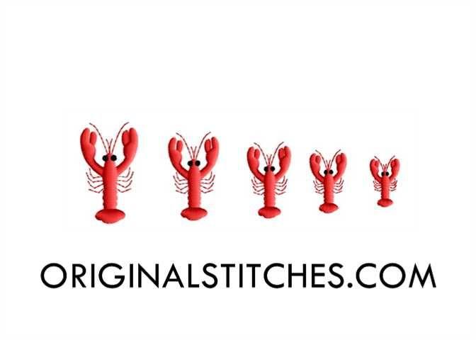 Crawfish Mini Embroidery Design - Original Stitches