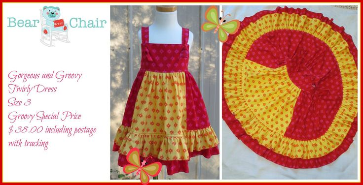 Handmade By Bear In A Chair Gorgeous and Groovy Twirly Dress