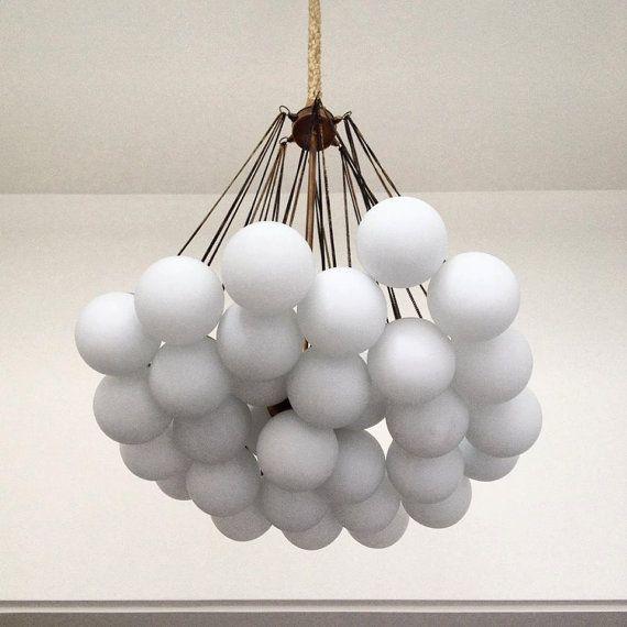 PEARL Handmade Pendant Light Chandelier Edison Restoration Industrial Fabric cables chain balls glass opal EGST