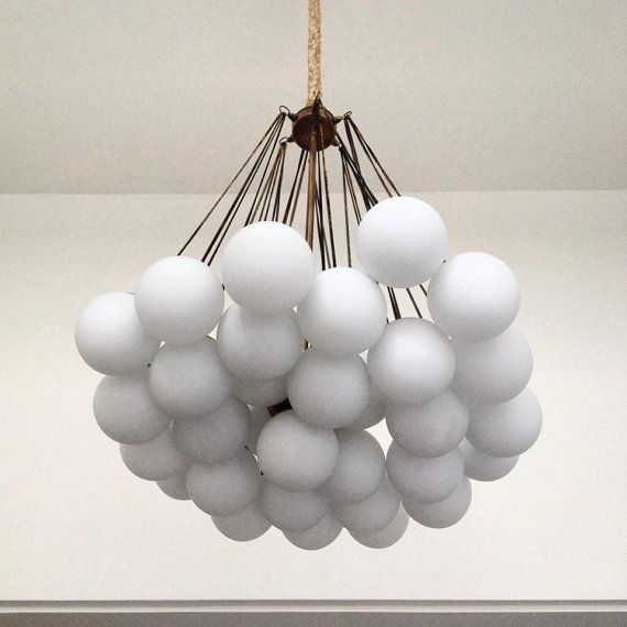 PEARL Handmade Pendant Light Chandelier Edison Restoration Industrial Fabric cables chain balls glass opal EGST