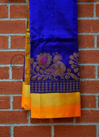 Indigo Blue Plain Kuppadam Saree with Broad Yellow/Zari/Peacock Border -