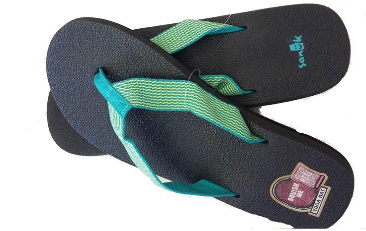Sanuk Women's Yoga Mat Webbing Flip Flop, Teal/Yellow, Size 7 => Additional details at the pin image, click it  : Sanuk flip flops
