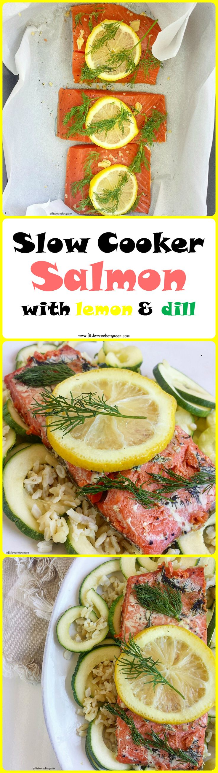 Healthy slow cooker / crockpot recipe -  Cooking salmon in the slow cooker produces perfectly cooked salmon with minimal effort. With less than 5 ingredients, this recipe is both healthy (whole 30, paleo) & easy.