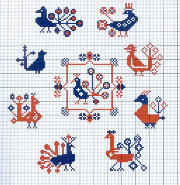 Scandinavian Style Bird Motifs Cross Stitch