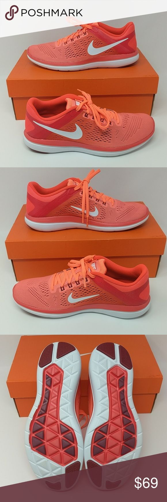 Nike Flex 2016 Run Shoes, Mango Brand new pair of Nike running shoes in bright mango/white. Nike Shoes Athletic Shoes