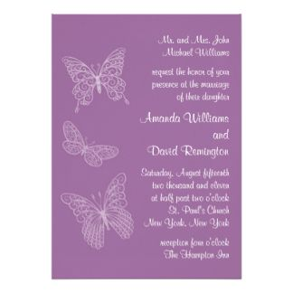 Filigree Butterfly Wedding Invitation In Purple