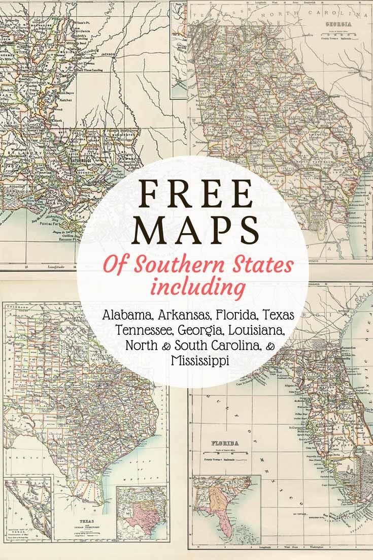 Map Of North Florida And South Georgia.Free Downloadable Southern Usa State Maps From 1885 Includes Old