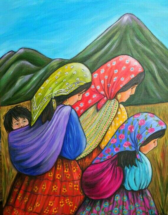 Mexican Paintings, Original Artwork, Original Paintings, Peruvian Art, Colorful Mountains, Mexico Art, Photo Canvas, Artist Art, Folk Art