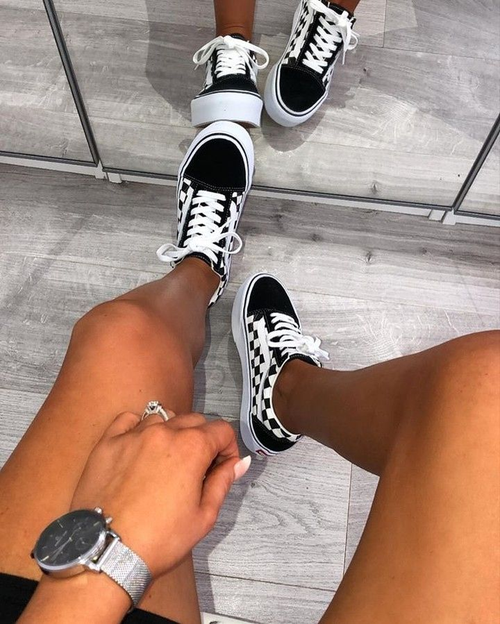 Platform sneakers outfit, Vans shoes outfit