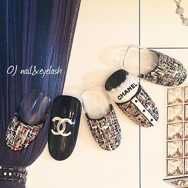 Chanel inspired nail design nail art
