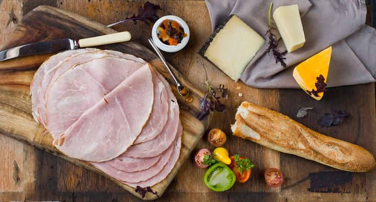 English Ham and Cheese Platter with Heirloom Tomatoes and Pumpkin Marmalade: The classic platter is always party pleaser.  This selection of slices of DON® Ham, crumbly cheese and crisp crackers is perfectly paired with a glass of red wine.