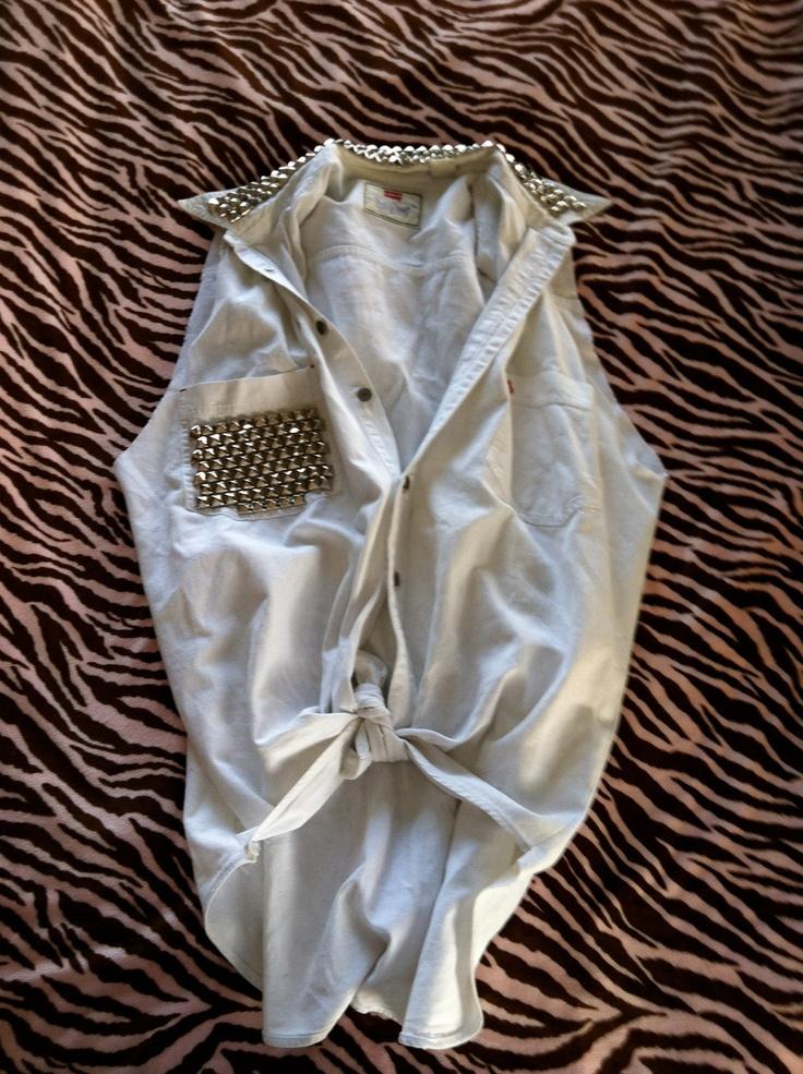 White Studded Levis Vest