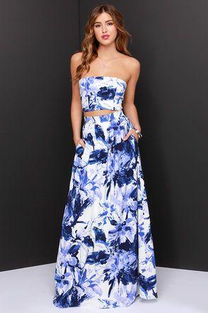Cute Two-Piece Dress - Blue And Ivory Print Dress - Maxi Dress - $185.00