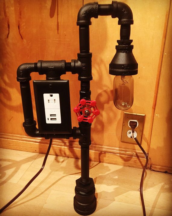 Industrial black cast iron pipe lamp usb by for Black iron pipe lights