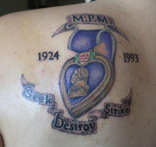 purple heart tatoos | My grandfathers WWII purple heart tattoo