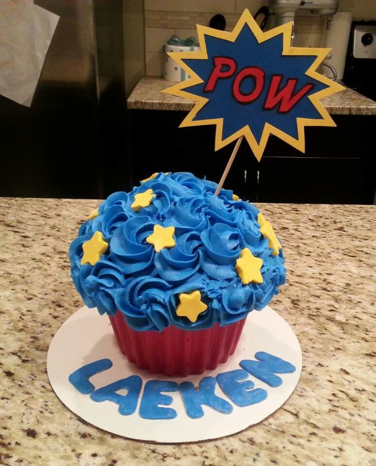 Superhero giant cupcake smash cake