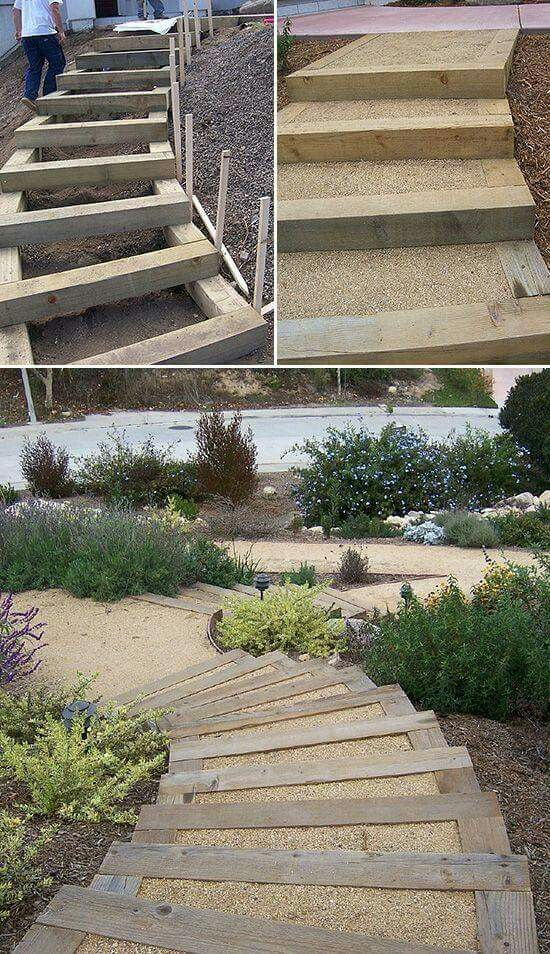 "Unless your yard and garden is perfectly flat, chances are at one time or another, you've thought, ""wouldn't some steps be nice there?"" Or even more ambitiously, stairs? Steps and stairs make getting around the yard easier, of course. But they also lead the eye through the garden, and give it structure. You can add DIY steps and stairs to your garden with these tutorials and inspirational ideas."