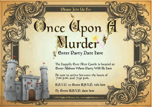 Invitation for this fairy tale themed murder mystery party