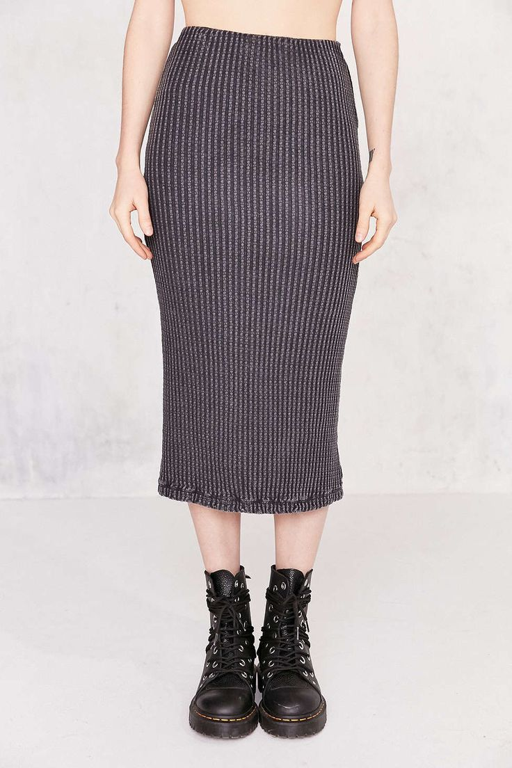 Silence + Noise Bubble Rib Bodycon Midi Skirt