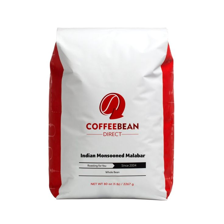 Coffee Bean Direct Indian Monsooned Malabar, Whole Bean Coffee, 5-Pound Bag