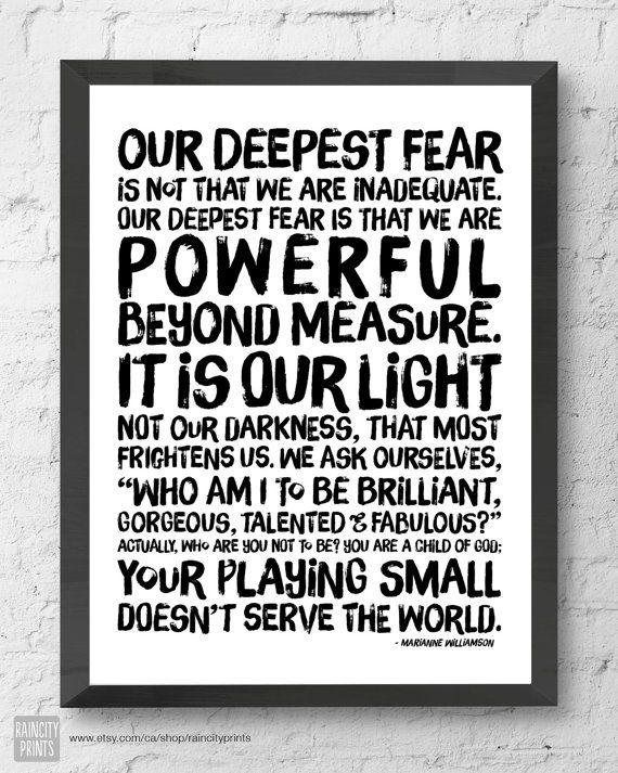 Inspirational Poster. Powerful Beyond Measure Print. Marianne Williamson, Nelson Mandela Quote. Modern Wall Art by raincityprints, $10.00