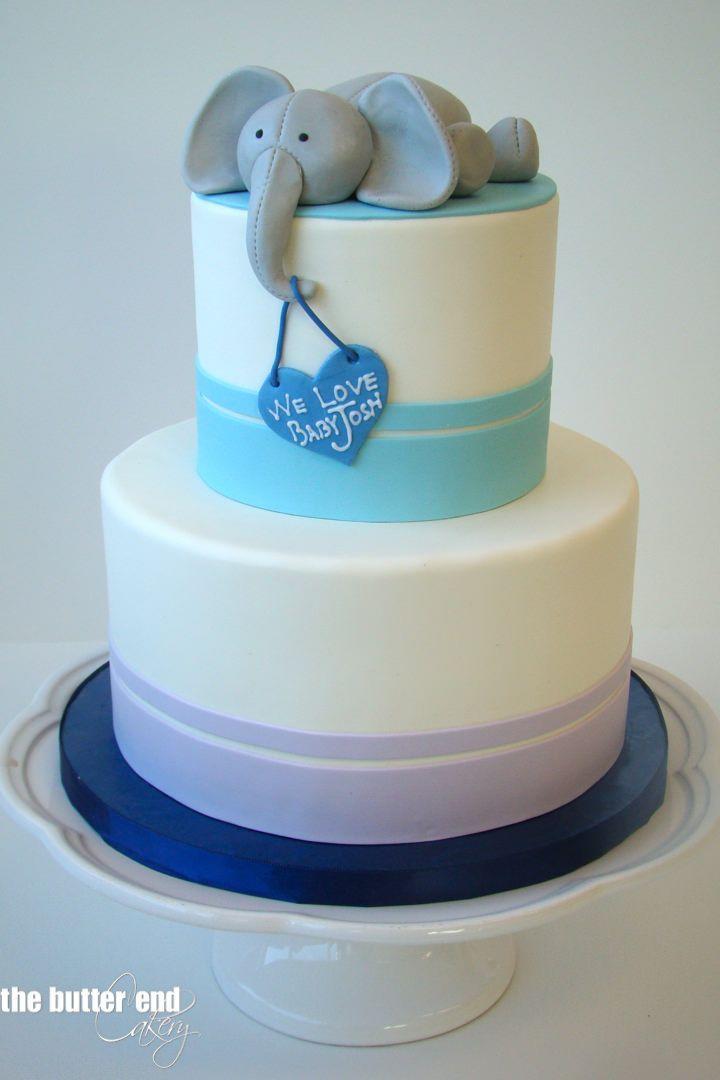 Baby Shower Cakes Elephants ~ Baby shower cake boy elephant blue and cupcakes