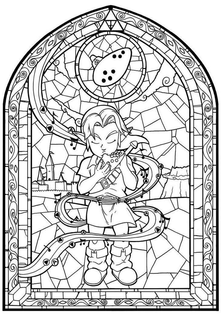 Zelda Coloring Sheets Stained Glass Com Imagens Desenhos Para