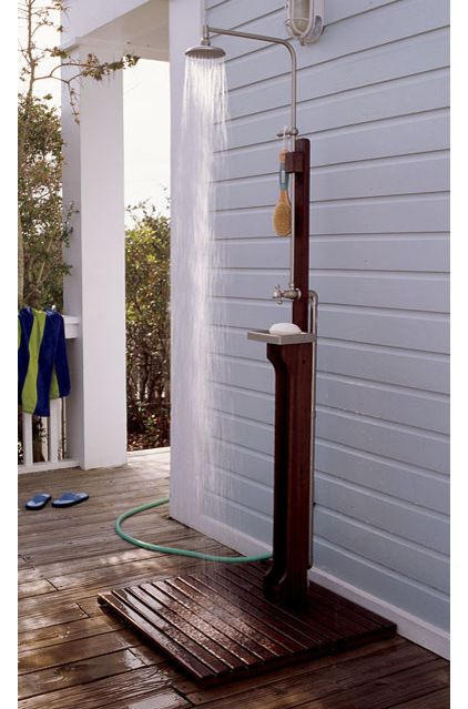 outdoor shower hook up Hook up to hot and cold water with garden hoses or permanent lines and simple plumbing and assembly make oborain the perfect pre-fab outdoor shower.