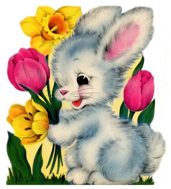 Vintage Bunny & Tulips <3