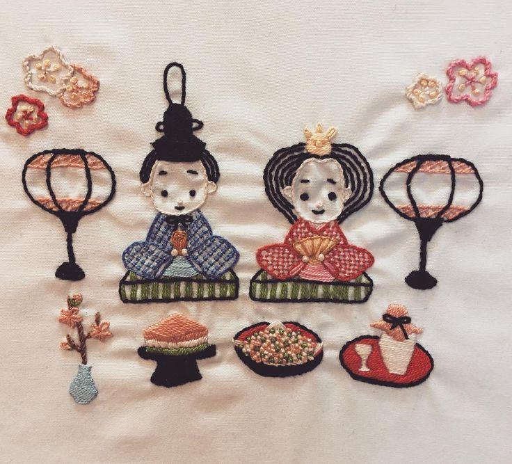 Ready for the Girl's Day. #ひな祭り #雛人形 #日本刺繍 #刺繍 #výšivka #handmade #embroidery #japaneseembroidery #broidery