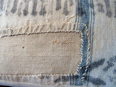 german grain sack, boro stitching japanese mending