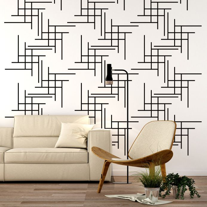 Geometric Line Wall Decal Wall Star Graphics Apartment Wall Decor Mid Century Modern Wall Decor Geometric Wall Art