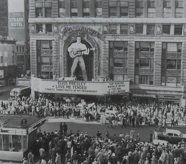 1956 Times Square ELVIS PRESLEY Love Me Tender MOVIE MARQUEE and crowds waiting to get into the Paramount Theater.