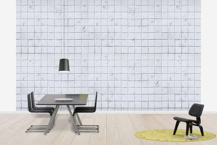 Old White Tile Wall - 15x15 - Tapetit / tapetti - Photowall