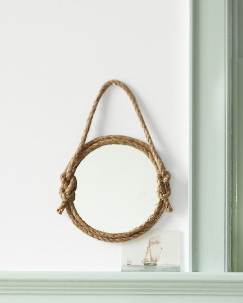 Rope Mirror How-To - Martha Stewart Good Things: Decor, Rope Mirror, Ideas, Ropes Mirror, Diy'S, Diy Ropes, Martha Stewart, Nautical Ropes, Crafts