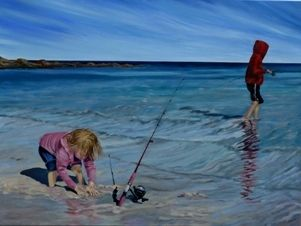 'Gone Fishing' is a painting of two children on a beautiful sunny beach fishing on a large canvas 1220x910mm Acrylic Paint with Oil Paint Glaze on Canvas Priced at $1180