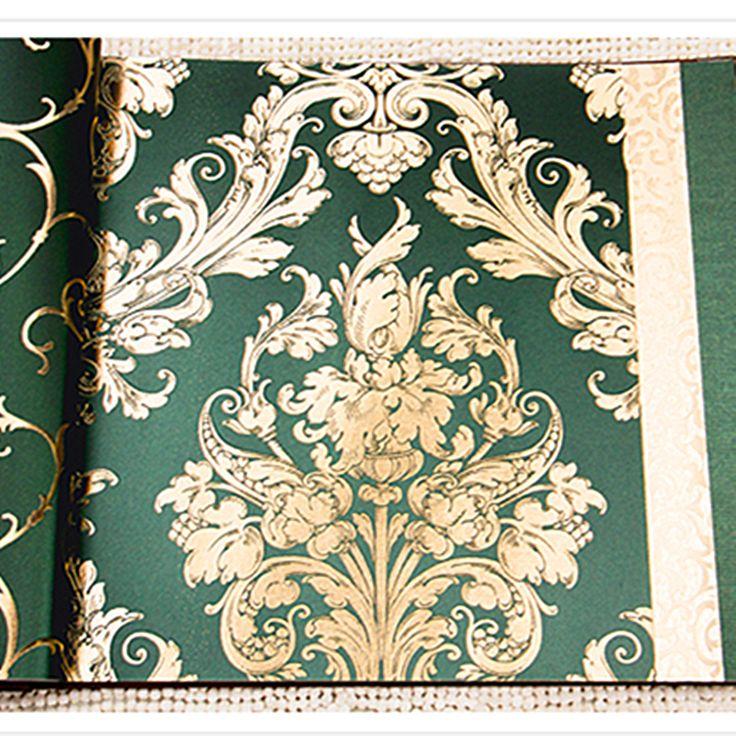 Бесплатная Доставка Дамаск Узор Зеленый Цвет Обоев Для Гостиной Спальня Обои Золотая Фольга купить на AliExpress