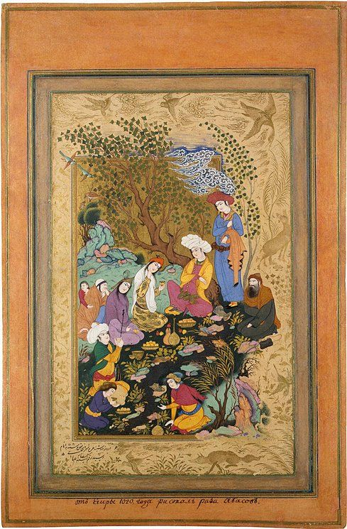 Riza-i Abbasi Miniatures, Gouache and gold, 26x16.7 cm Origin: Iran, 1612, Safavid Dynasty This is one of the best works by the renowned artist Riza-i Abbasi. The miniature is the right part of a diptych  showing a noble youth feasting in the company of his suite.