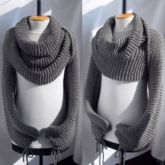 Knitted Scarf Shawl with sleeves at both ends in grey by vinevirak, $79.00