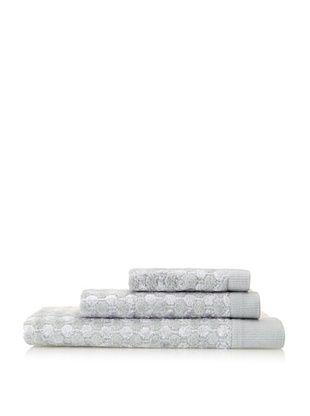 Esplama Art Deco 3-Piece Dot Towel Set, Chrome