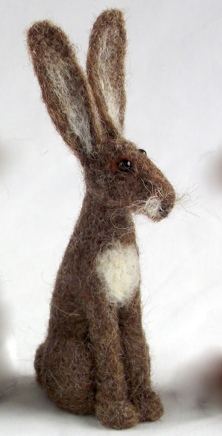 Felted Brown Bunny so so cute! This pin links you to a site with the CUTEST felted animals I've ever seen!