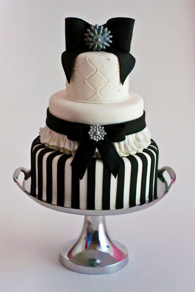 Black and White Ribbons & Bows Cake