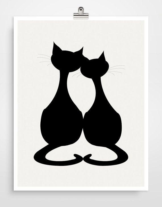 Kat silhouet kunst kat Art Print, zwarte kat, Cat kwekerij, geschenk voor de minnaars van de kat, Black and White Wall Art Print door evesand