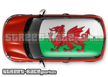 Welsh flag - printed and laminated (air release) vinyl car roof graphics.