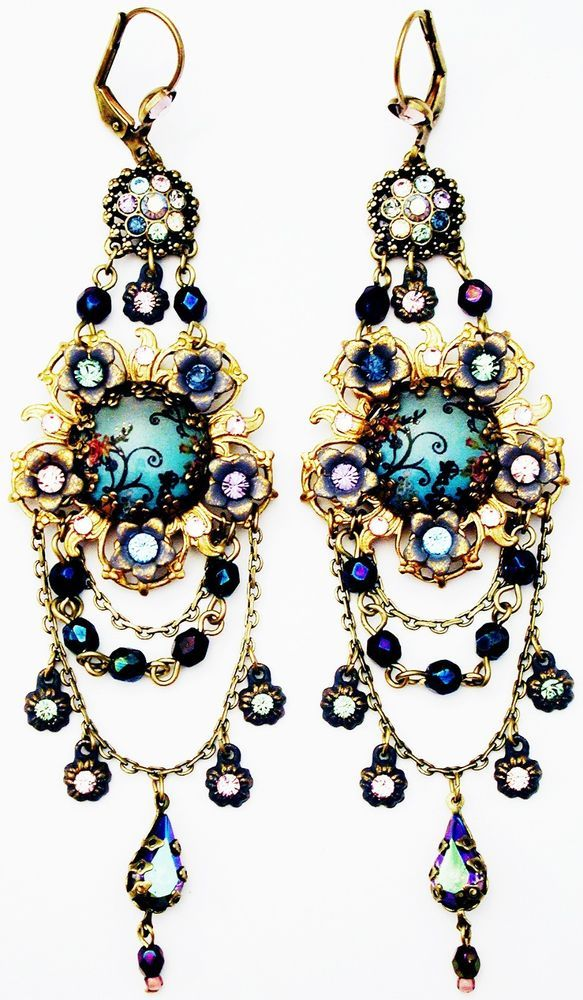 Michal Negrin Antique Style Cameo Crystal Earrings #MichalNegrin