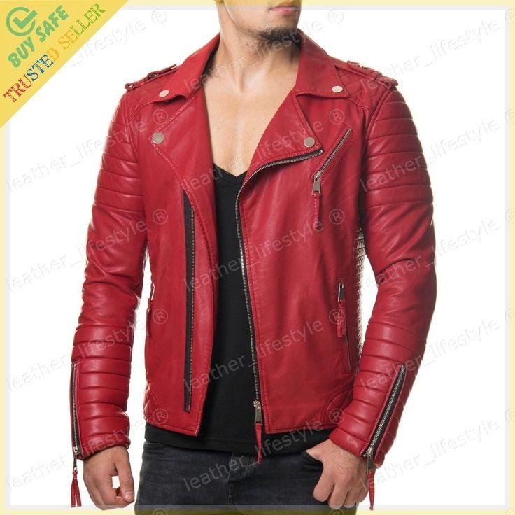 Men's Genuine Lambskin Leather Motorcycle Jacket Biker Jacket Designer fit MJ11 #LeatherLifestyle #Motorcycle #PerfectforMotorcycleandWinter