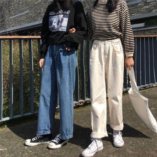 monroll Plain Wide Leg Jeans on We Heart It