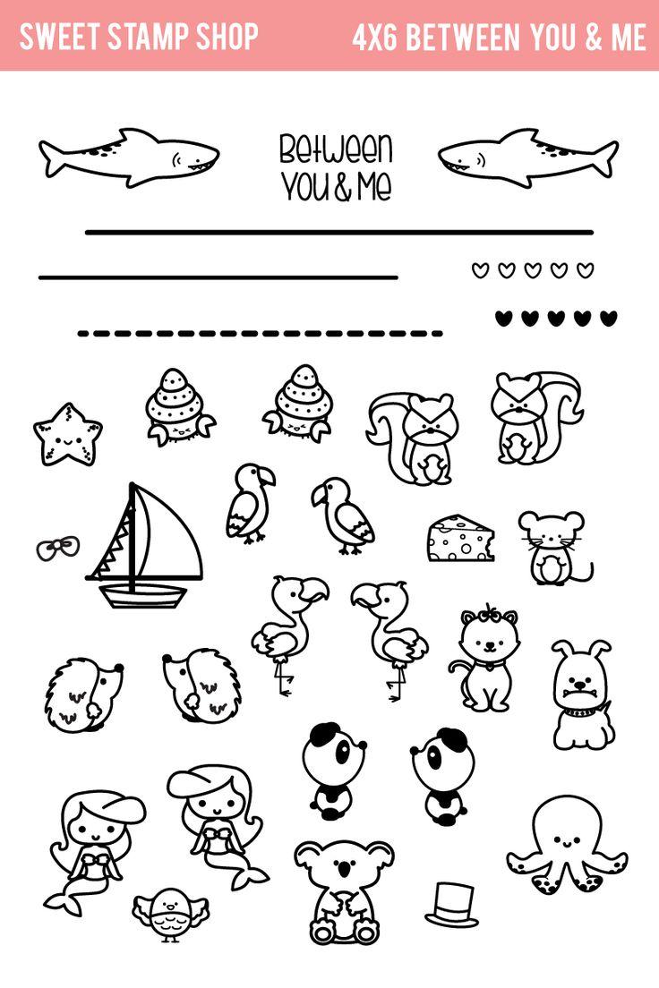 Flamingo, Papagei, Igel, Hund, Panda, Meerjungfrau, Koala, Krake, Hai, Schiff, Katze, Maus, Eichhörnchen, Muschel _ Sweet Stamp Shop