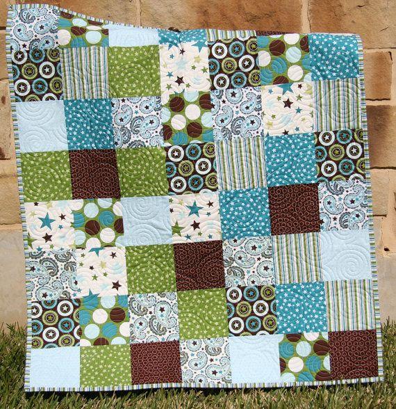All Star Boy Quilt Blue Green Brown Teal Patchwork Blanket Crib Bedding